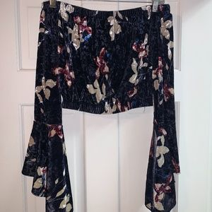 Off-shoulder velvet floral top